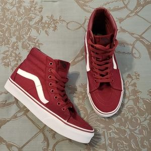 Vans Sk8-Hi Burgundy and White Sneakers